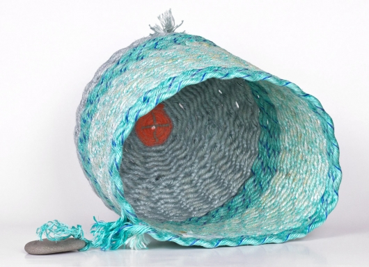 Sea Shimmer Basket, Ghost Net Baskets -  artwork by Emily Miller