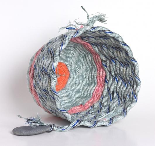 Pink Stripe Gray Basket, Ghost Net Baskets -  artwork by Emily Miller