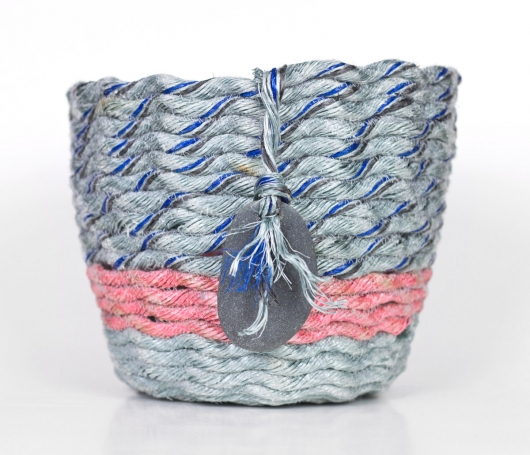 Pink Stripe Gray Basket, $140
