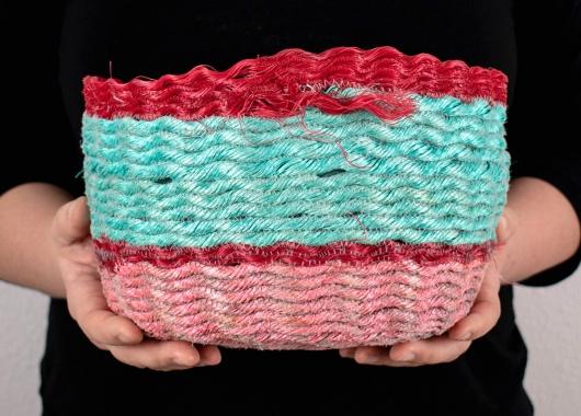 Red Lip Poolside Basket, Ghost Net Baskets -  artwork by Emily Miller
