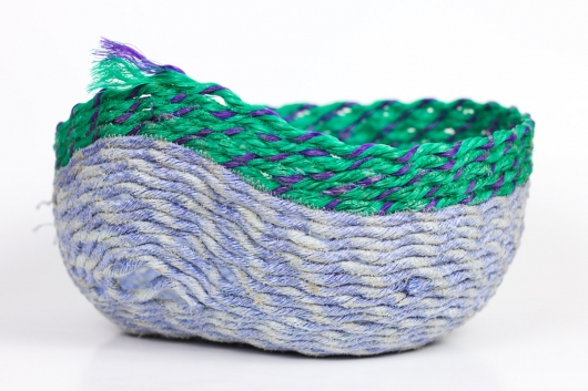 Stripe Set, Purple + Green, Ghost Net Baskets -  artwork by Emily Miller