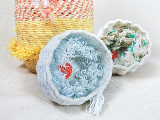 Barnacle Nests, Ghost Net Baskets -  artwork by Emily Miller