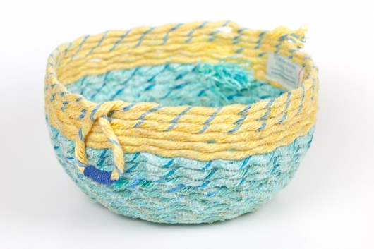 Double Loop Basket, Ghost Net Baskets -  artwork by Emily Miller