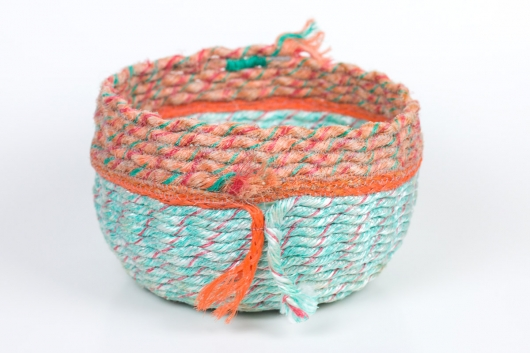 Double Tail Basket, Ghost Net Baskets -  artwork by Emily Miller