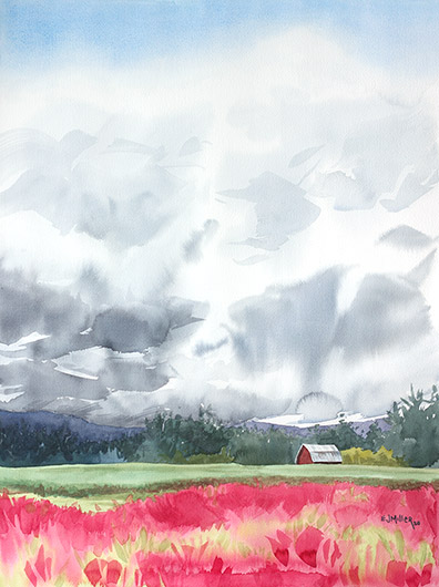 Big Sky Clover, Countryside - 2020 flowering, clover artwork by Emily Miller