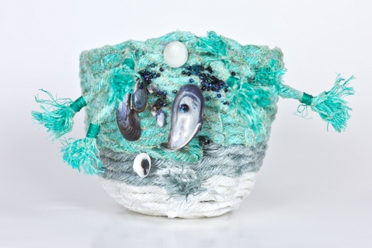 Wrackline Baskets - Mussel Shoals, Ghost Net Baskets -  artwork by Emily Miller