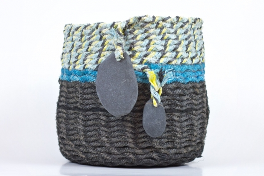 Black Base Double Stone Basket, Ghost Net Baskets -  artwork by Emily Miller