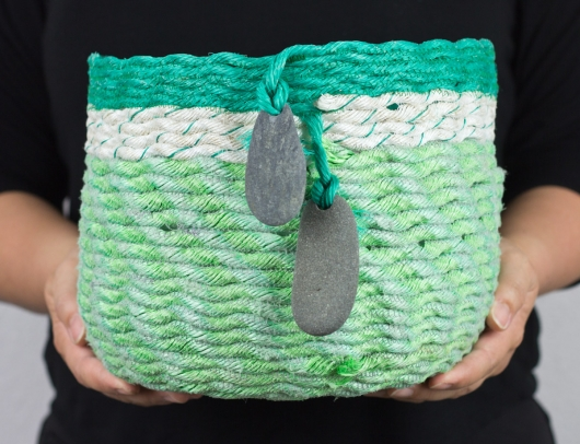 Sea Greens Basket, Ghost Net Baskets -  artwork by Emily Miller