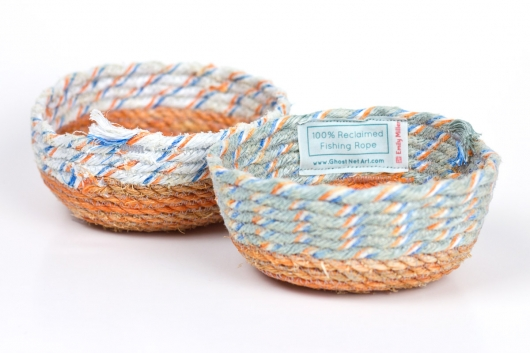 Orange Base Mini Bowls, Ghost Net Baskets -  artwork by Emily Miller
