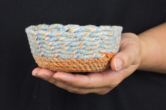 Orange Base Mini Bowls, Ghost Net Baskets -  artwork by Emily Miller