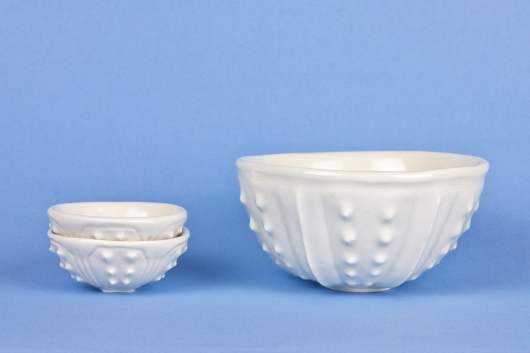 Two stacked Mini Bowls with a Rice Bowl Urchin Mini bowl - white, Urchin Bowls -  artwork by Emily Miller