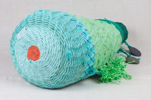Green Tall Pod, Ghost Net Baskets -  artwork by Emily Miller