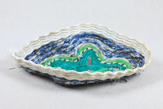 Geode Bowl, Ghost Net Baskets -  artwork by Emily Miller