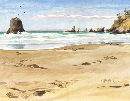 North of Cannon Beach, Oregon Coast -  artwork by Emily Miller