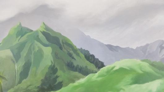 Detail Hihimanu Rain, Mauka — the mountains -  artwork by Emily Miller