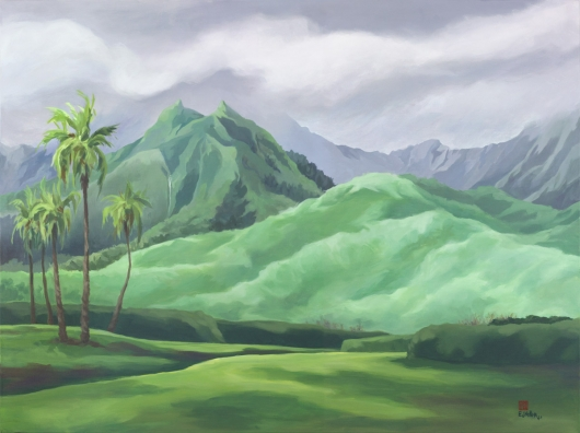 Hihimanu Rain, Mauka — the mountains -  artwork by Emily Miller