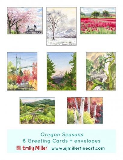 Greeting card set - Oregon Seasons, 2020