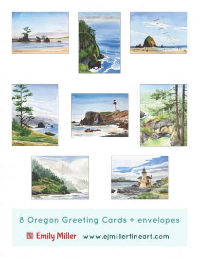 Greeting card set - Oregon Coast, Oregon -  artwork by Emily Miller