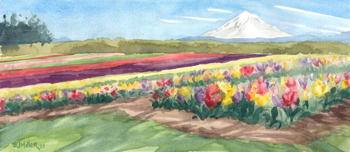 Tulip Rainbows, Countryside -  artwork by Emily Miller