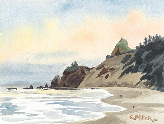 Dusk at Roads End, Oregon, Oregon Coast -  artwork by Emily Miller