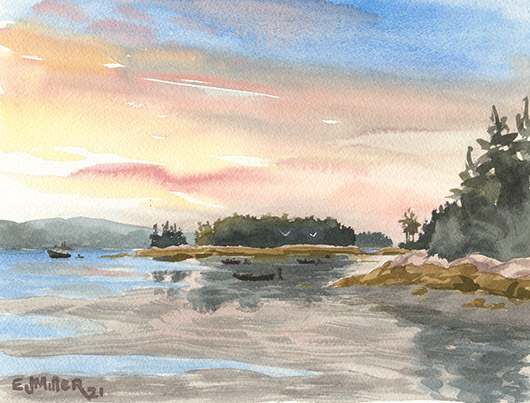 Minus Tide at Dawn, Down East Maine -  artwork by Emily Miller