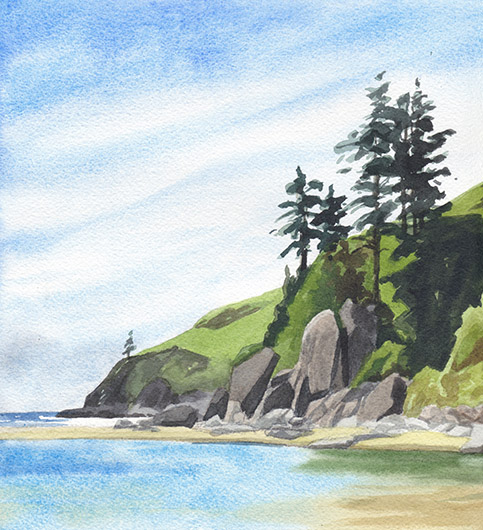 Left side, detail River Sentinels at Cascade Head, Oregon Coast -  artwork by Emily Miller