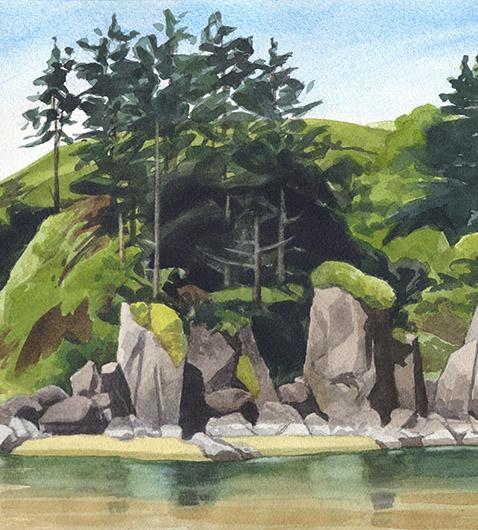 Center, detail River Sentinels at Cascade Head, Oregon Coast -  artwork by Emily Miller