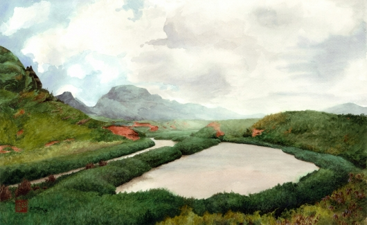 Kauai Artwork by Hawaii Artist Emily Miller - Mist at Alekoko Fishpond